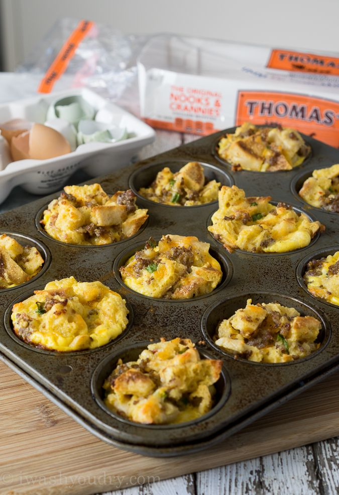 Breakfast Casserole Muffins: Turn chopped Thomas' English Muffins into a tasty breakfast cup with this recipe from I Wash You Dry. Fresh spice, crumbled sausage and cheddar cheese, each taste will make you yearn for a lazy fall morning.