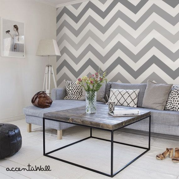 Chevron Cool Grey Peel & Stick Fabric Wallpaper door AccentuWall
