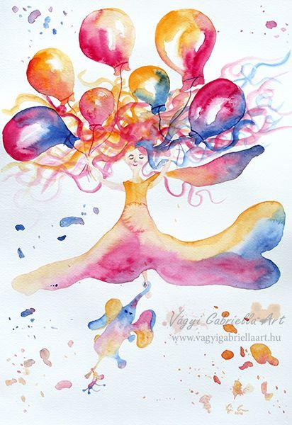 A három jóbarát utazása akvarell kép #akvarell #festmény #egér #elefánt #colorful #aquarell #art #painting #elephant #mouse #balloon #girl