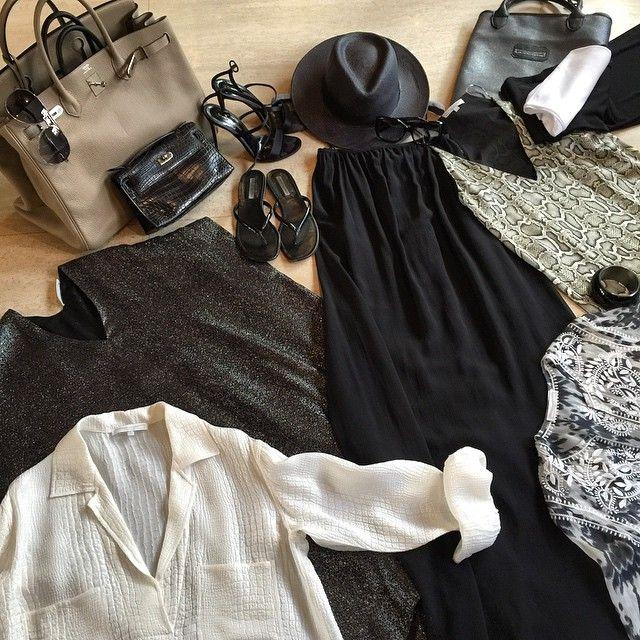 HK Today - NY Tomorrow - LA After tomorrow #whattopack 2 #daydresses #nightdresses #caftan #bustierswim 5 #underwear 1 #straplessbra #highheels #flats 3 #birkin 1 #panama   wear #palazzo #jersey #pants #tshirt #cardigan for the #flight in MFVD #travelbag