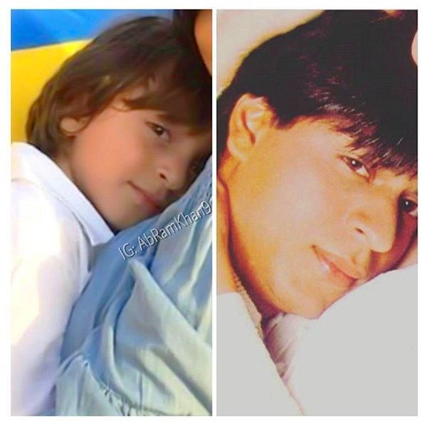 Shah Rukh took to Twitter to share a picture showing a side by side comparison of him and his son AbRam.
