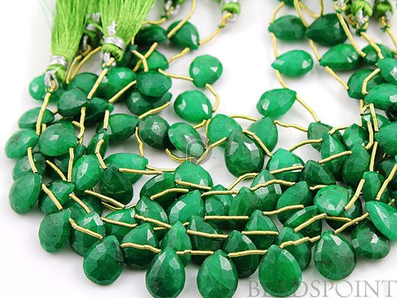 Dyed Natural Emerald Faceted Flat Pear Briolettes by Beadspoint, $47.95