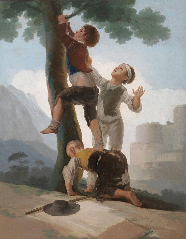 """Francisco de Goya: """"Muchachos trepando a un árbol"""". Oil on canvas, 141 x 111 cm, 1791-92. Museo Nacional del Prado, Madrid, Spain"""