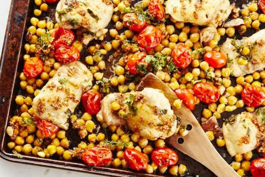 Moroccan Chicken Bake  This roasted chicken and chickpea tray bake has a yogurt topping   Metro News