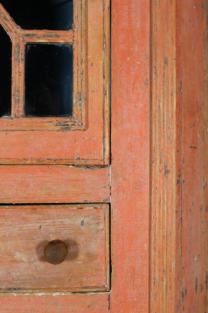 Irish Original Painted Pine Corner Cupboard