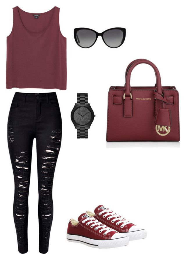 """""""vinous with black"""" by prosvetovajane ❤ liked on Polyvore featuring Monki, Converse and Michael Kors"""