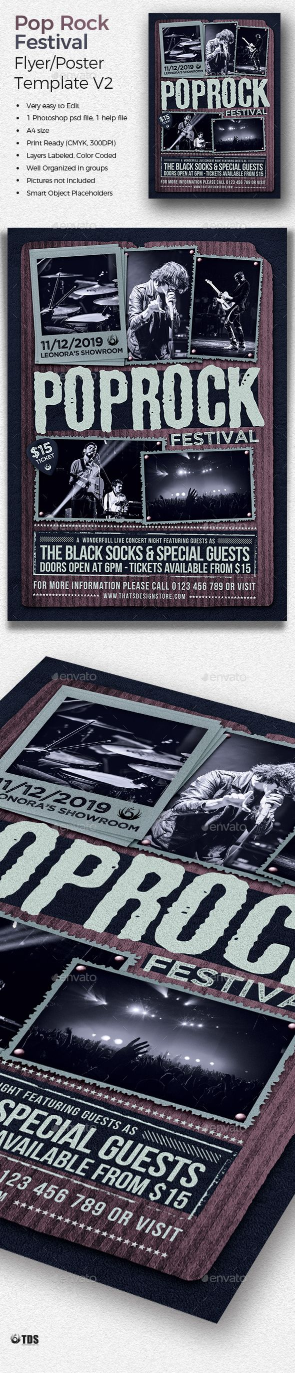 Pop Rock Festival #Flyer Template V2 - Concerts Events Download here: https://graphicriver.net/item/pop-rock-festival-flyer-template-v2/19725240?ref=alena994
