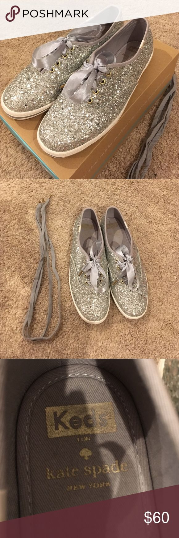 Keds for Kate Spade sparkly silver Keds ‼️Never Worn‼️ Brand New‼️ Keds made for Kate Spade. Come with the ribbon and regular shoe laces. kate spade Shoes Sneakers