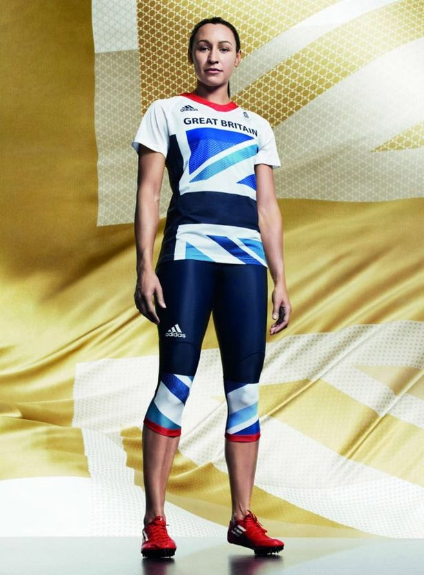 Flagged up: Heptathlete Jessica Ennis shows off the Team GB track & field warm-up kit - with its blue union flag