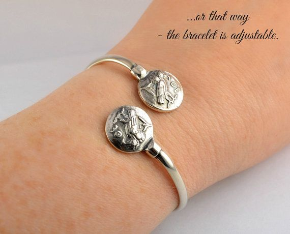 owl silver bracelet, owl bracelet, owl bangle, silver owl, antique bracelet, ancient bracelet, owl, greek bracelet, greek jewelry Athena-The Owl is a silver bracelet with 2 coins representing the owl - the symbol of Athena, the goddess of wisdom and foresight. Ancient Greeks