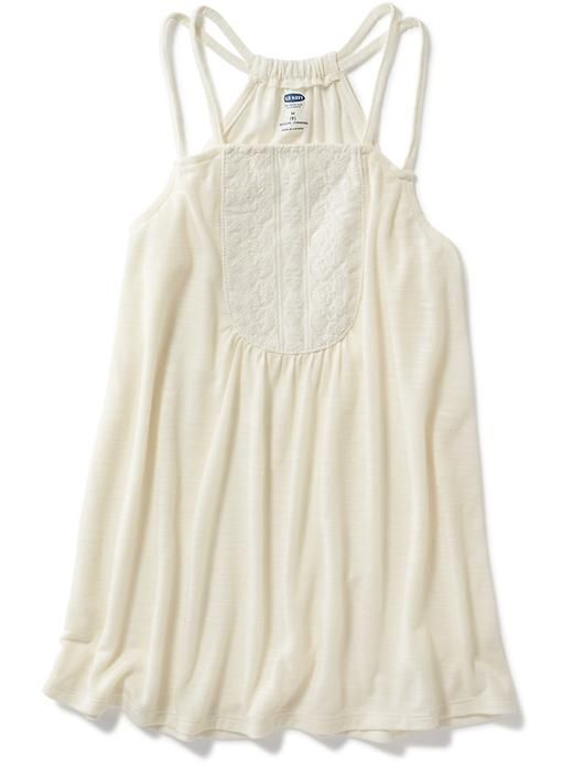 Embroidered-Yoke A-Line Tank for Girls