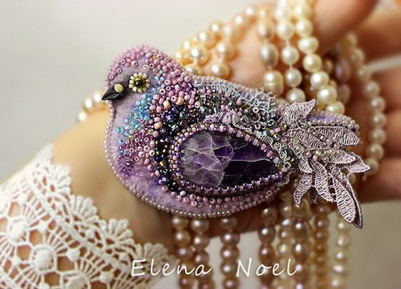 Amethyst bird. Embroidered brooch by ElenNoel on Etsy, $120.00