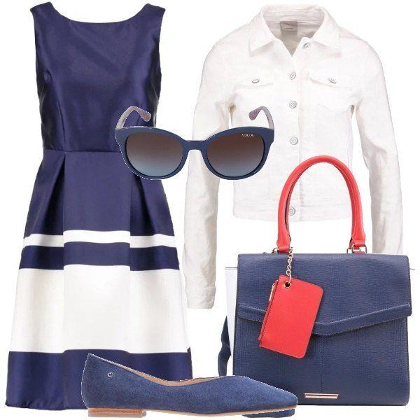 Un accostamento da giorno che vede un abito davvero molto bello e scollato dietro. Lo abbiniamo in chiave bon ton rivisitata ad un giubbino in denim bianco, ad un paio di ballerine ad effetto scamosciato, alla borsa blu, bianca e rossa e al paio d'occhiali con montatura blu.