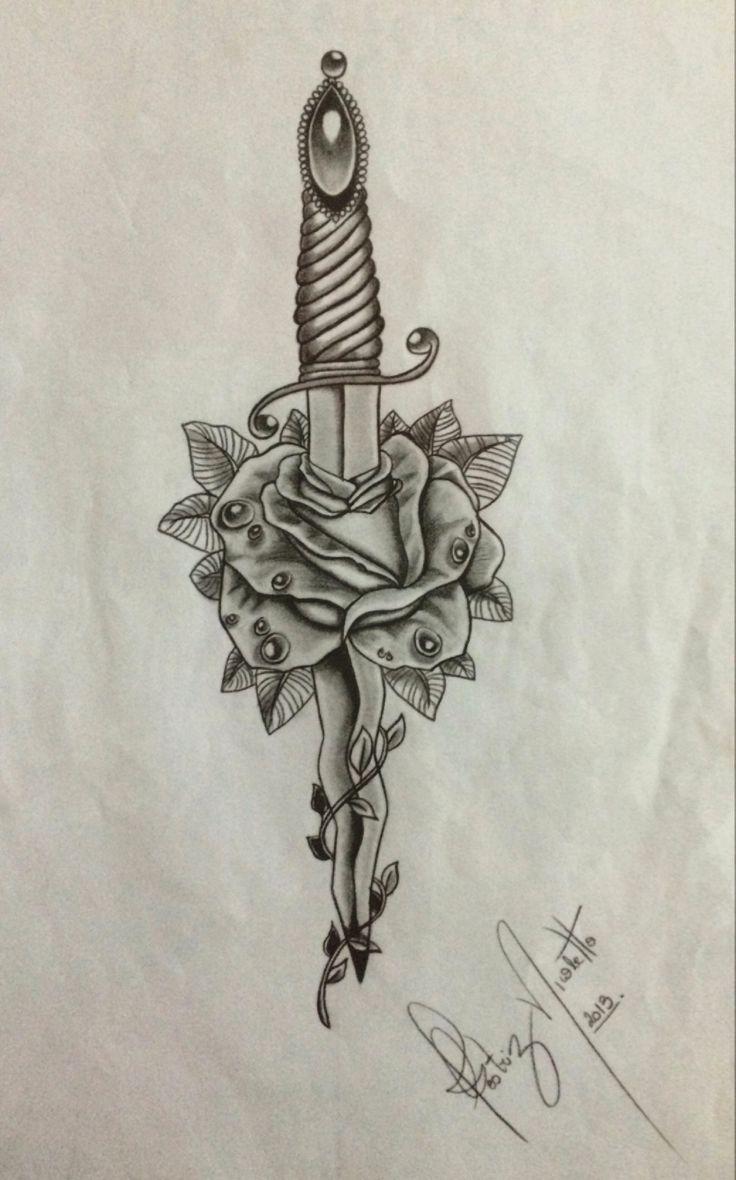 #adaga #flor #rosa #desenho #tatto #beanicoletto