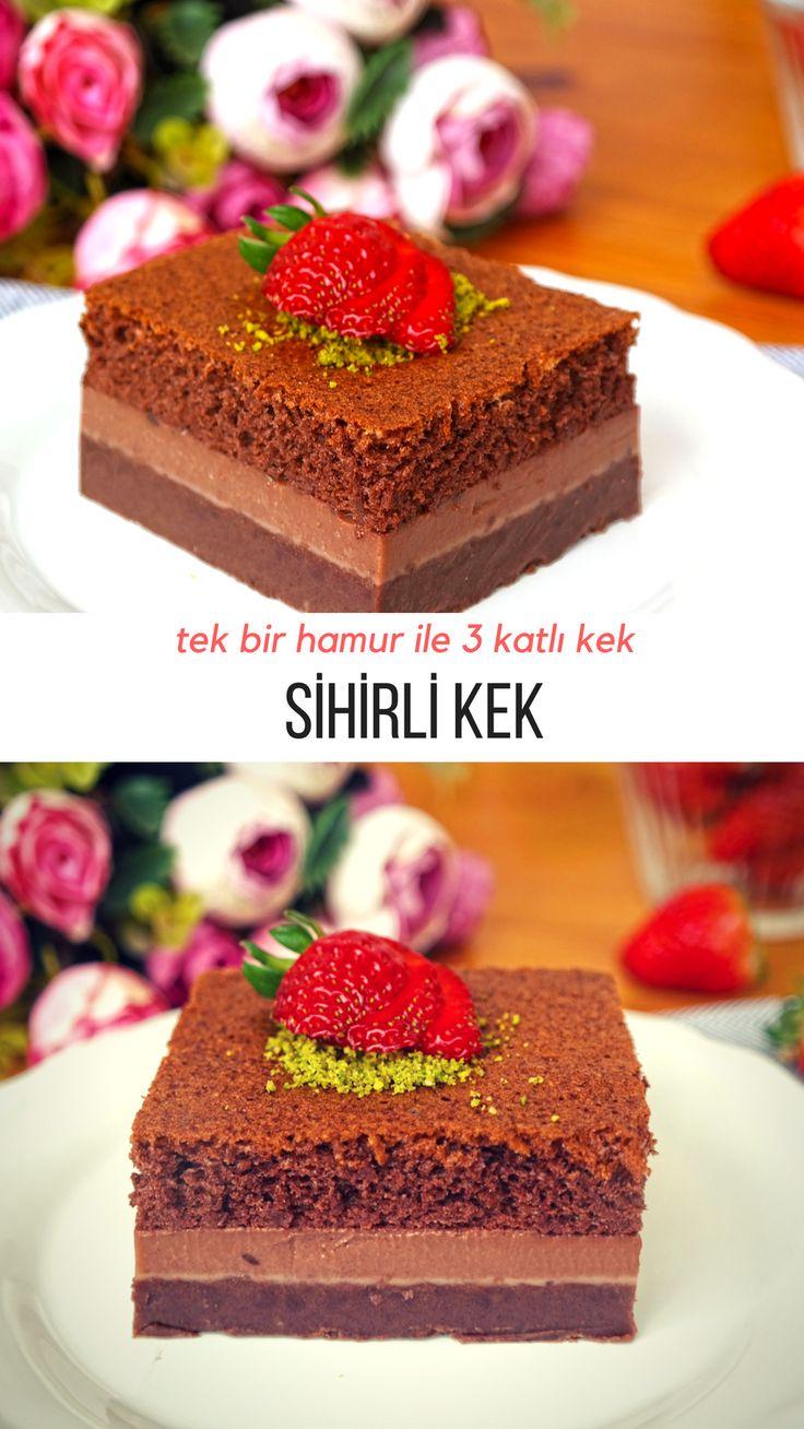 Sihirli Kek - Yapımı normal kek ile benzese de sonuca inanması çok güç :) #magiccake #sihirlikek #nefisyemektarifleri #kektarifleri