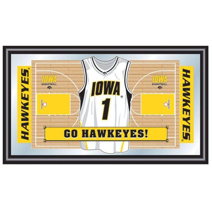 University of Iowa Basketball Jersey 15 in. x 26 in. Black Wood Framed Mirror