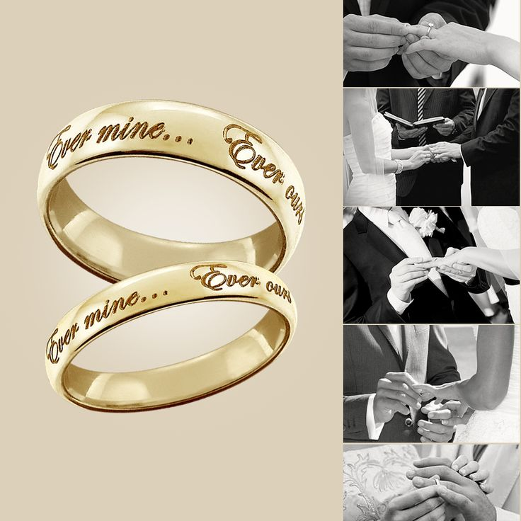 Custom engraved his & her's wedding bands in solid 14k gold - Custom engraved with wedding vows to share with the world. From: www.ShimmerAndStone.com