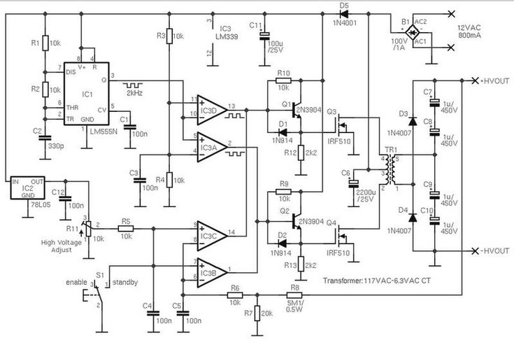 adjustable high voltage power supply 0 to 1000v