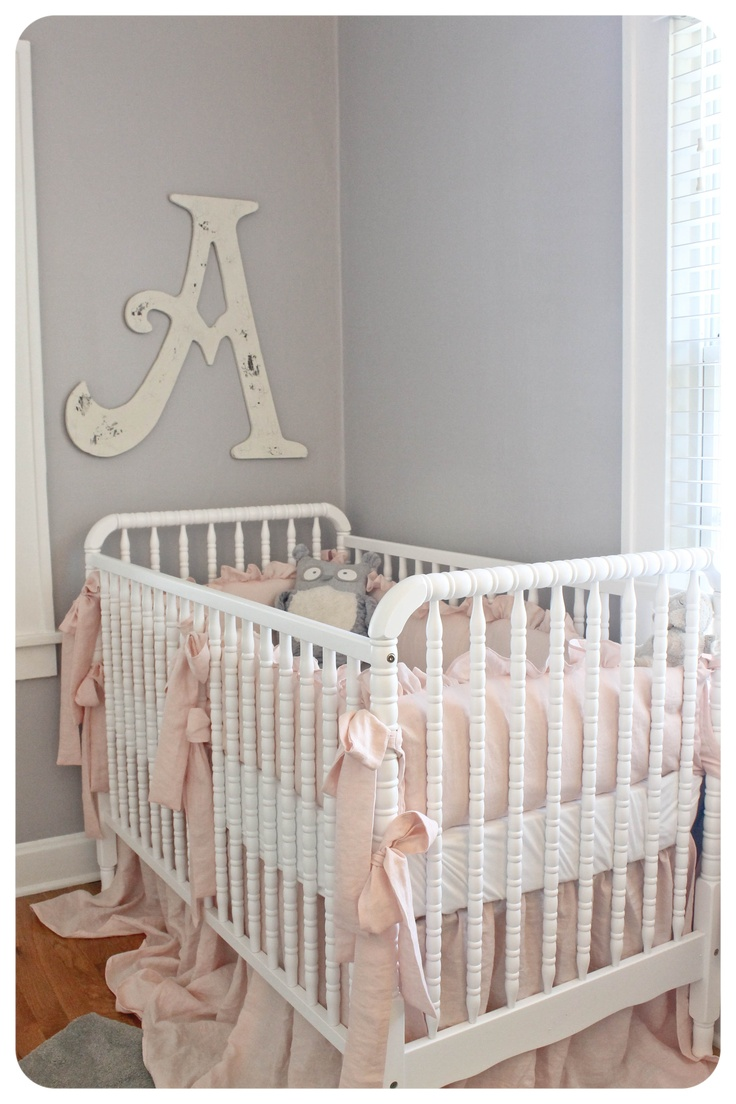 Light Pink And Gray Baby Girl Nursery Paint Color