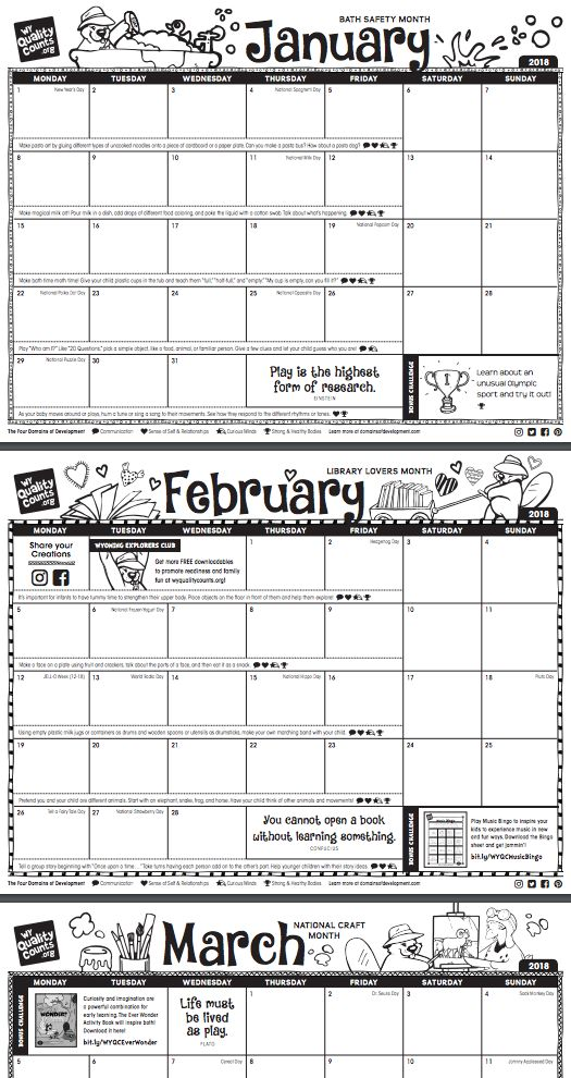 FREE printable 2018 calendar! Did you know that January is Bath Safety Month, or that Tell a Fairy Tale Day is on February 26th?    We've put together a year full of activities and fun ways to celebrate with your kids, and left room for you to add your own special events. For more fun, let your kids color in the pages!