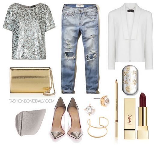 What to Wear to a Comedy Show Topshop Multi Sequin Tee Christian Louboutin Djalouzi 100mm Pump Jimmy Choo Carmen Gold Cracked Metallic Leather Clutch Bag