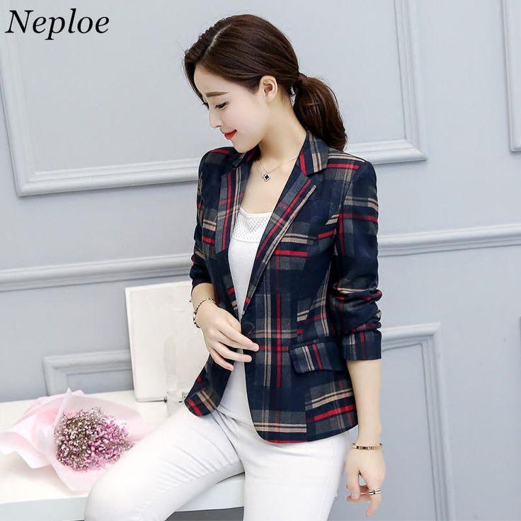 Neploe Elegant Short Blazer 2017 Spring Single Button Long Sleeves Plaid Jackets Ladies Office Wear Blazers Plus Size 4XL 33158 - www.eneryoh.com
