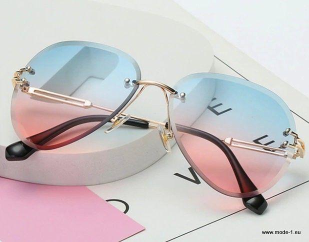 Randlose Sonnenbrille für Frauen Vintage Oversized Gradient Lens Eyewear
