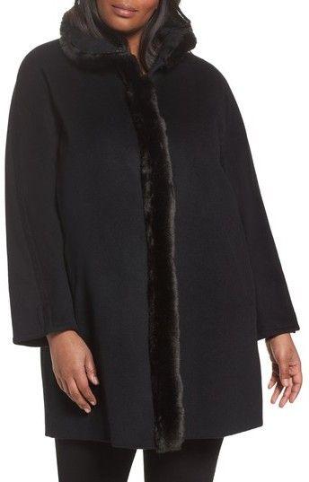 855fc386e4ccd Ellen Tracy Plus Size Women s Wool Blend Faux Fur Trim Walking Coat ...
