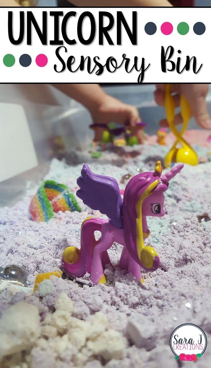 Unicorn sensory bin with colored cloud dough. Fun sensory bin idea for preschool!