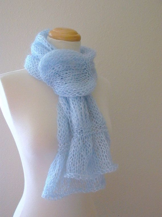 Float . mohair knit scarf . pale sky blue . whisper soft ethereal delicate fe...