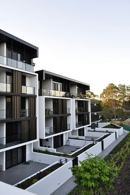 The Village @ Coorparoo, Brisbane - Retirement Village by S3 Architects Building 1 - Internal Village Elevation with Ground Floor Terraces