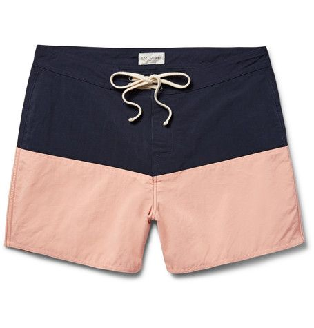 Ennis Colour-Block Mid-Length Swim Shorts in Midnight blue by  Saturdays NYC
