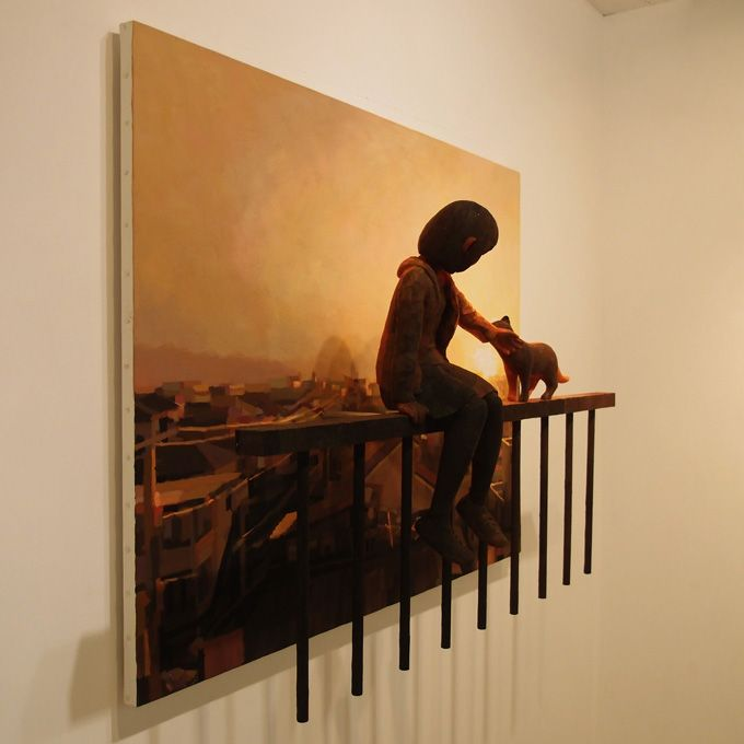 Artist Shintaro Ohata that makes a scenery by combining a 3d sculpture and 2d painting