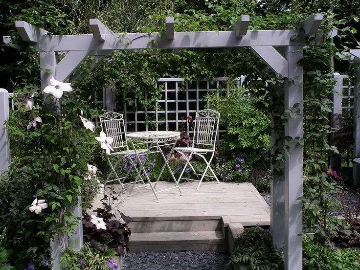17 best images about pergola painted gardens house for Grey decking garden ideas