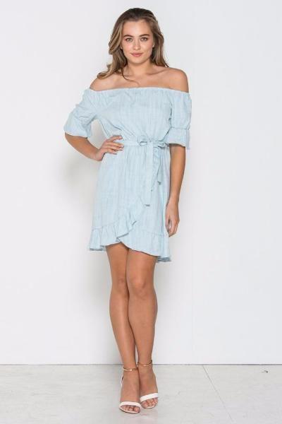 Fresh Soul - Frill Seeker Dress- Chambray