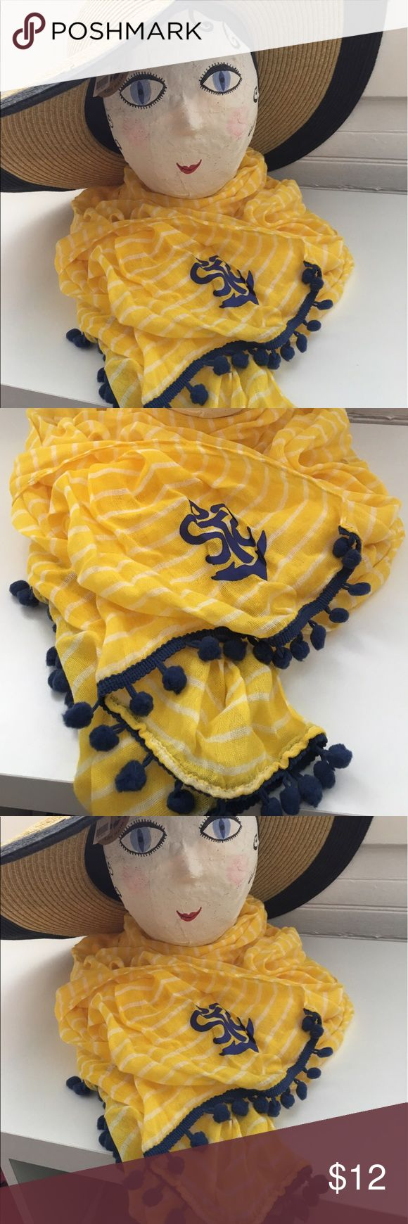 Nautical scarf Ahoy mateys!!!!  Be a Nauti girl in this yellow, cotton, striped nautical scarf with navy pompoms.  Perfect for boating or just pretending to 😄. Hat not for sale. Accessories Scarves & Wraps
