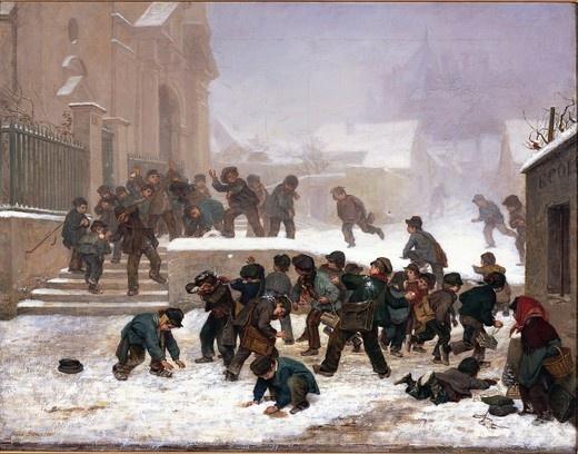 눈싸움 - 피에르 에두아르 프레르  1861. 베리 아트 갤러리.  프랑스 화가인 프레르는 놀이를 하는 아이들이 있는 풍경을 전문적으로 그렸습니다. 또 이에 대한 런던의 미술 시장에서 열광적인 지지를 받았습니다. 눈싸움하는 아이들의 모습이 섬세하게 표현되어 있으며 지극히 사실적으로 표현하여 생동감이 넘치는 것 같습니다.