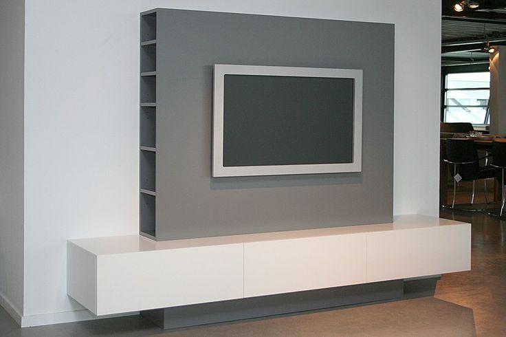 Kino TV kast Lak wit Ral 9010/Lak stofgrijs Ral 7037 - Designsales.nl