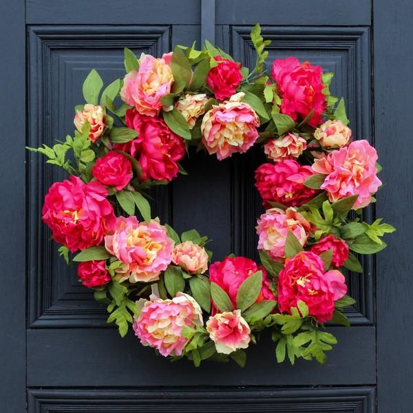 Welcome Front Door Spring Wreath with Pink Peony Flowers Rustic Welcome Grapevine Wreath Summer Peony Wreath Spring Front Door Wreath