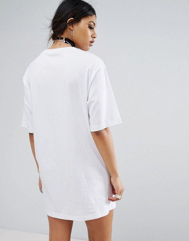 Bones Oversized T-Shirt Dress With Lace Up Neck - White