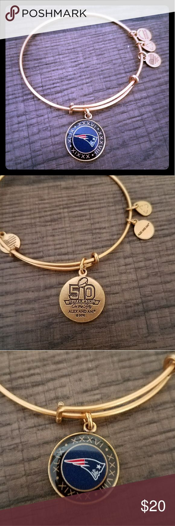 Gold Alex and Ani Patriots Superbowl 50 bracelet Has 4 dates of super bowl wins and is unique for being a Superbowl 50 win!! Tom Brady 12 go pats! Alex & Ani Jewelry Bracelets