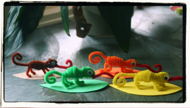 """Lines Across"": Chameleon Pipe Cleaner Animals - ""A Color of His Own"" Activity I would add the tag info onto the leaf."