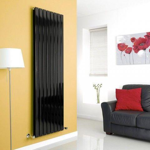 Double Panel Milano Aruba Black Vertical Designer Radiator - http://www.bestheating.com/milano-alpha-black-vertical-double-designer-radiator-1780mm-x-560mm.html