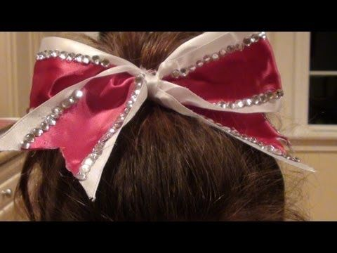 How to make a cheer bow without sewing  Just hot glue, ribbon, 2 ponytails, and a twisty tie
