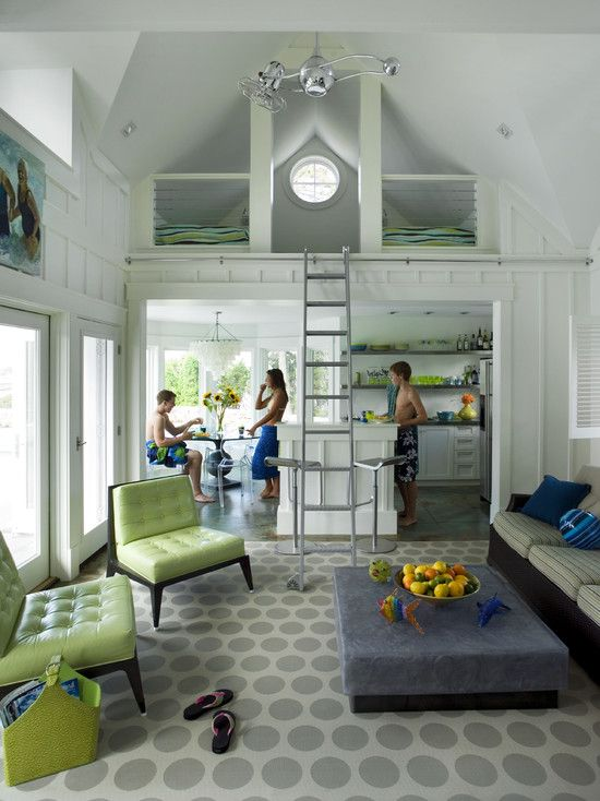 Inspiration for the interior of your poolhouse. Loft beds, a kitchen, a living and dining area. Cool color combinations too!