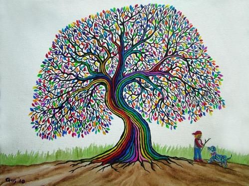 A Boy His Dog And Rainbow Tree Dreams Poster by Nick Gustafson