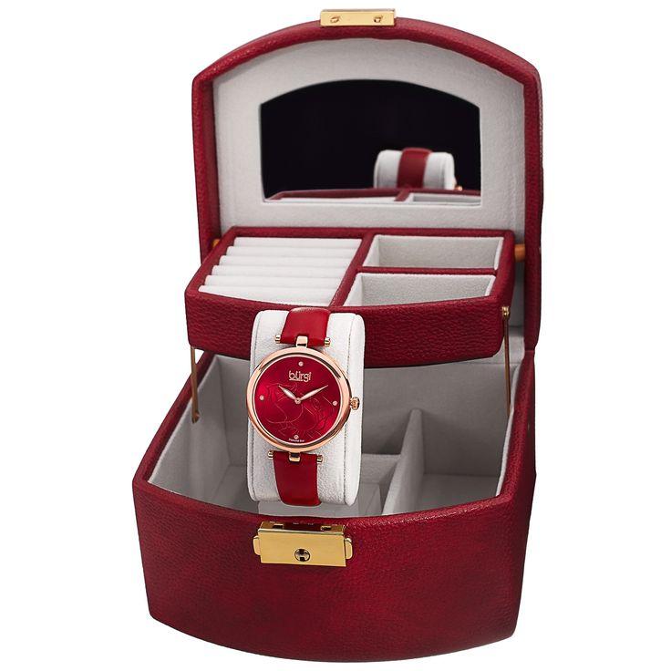 Burgi Women's Dial Skinny Strap Watch and Jewelry Box Set