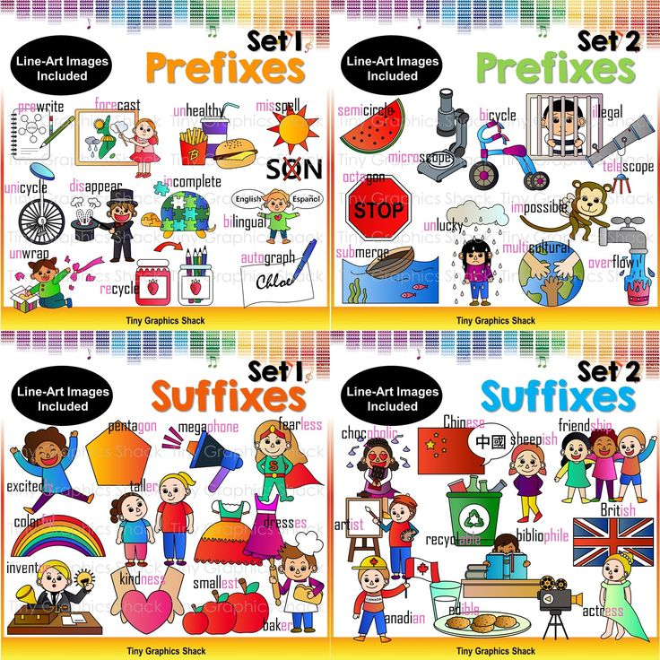 These prefixes and suffixes clipart would be perfect to make posters and other fun activities.