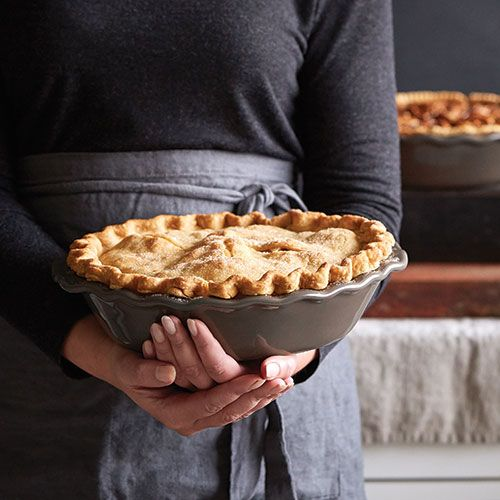 The scalloped edge and neutral graystone glaze of the Deep Dish Pie Plate beautifully accent pies and casseroles.