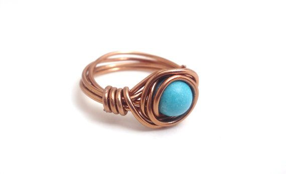Small Turquoise Stone Dark Copper Wire Wrapped Ring
